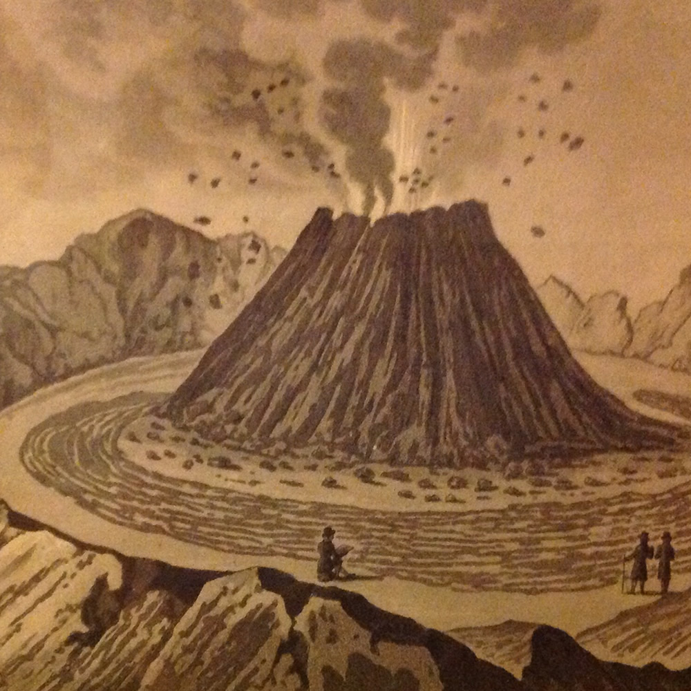 The crater of Vesuvius, before the eruption of 1767. Engraving by Ambroise Tardieu. Photo by David Pyle.