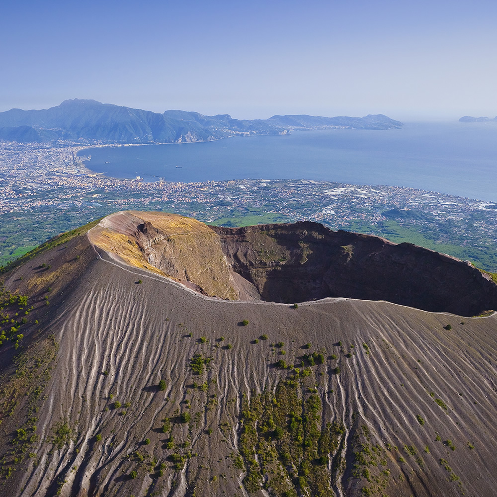Cone of Vesuvius on view of the Gulf of Naples